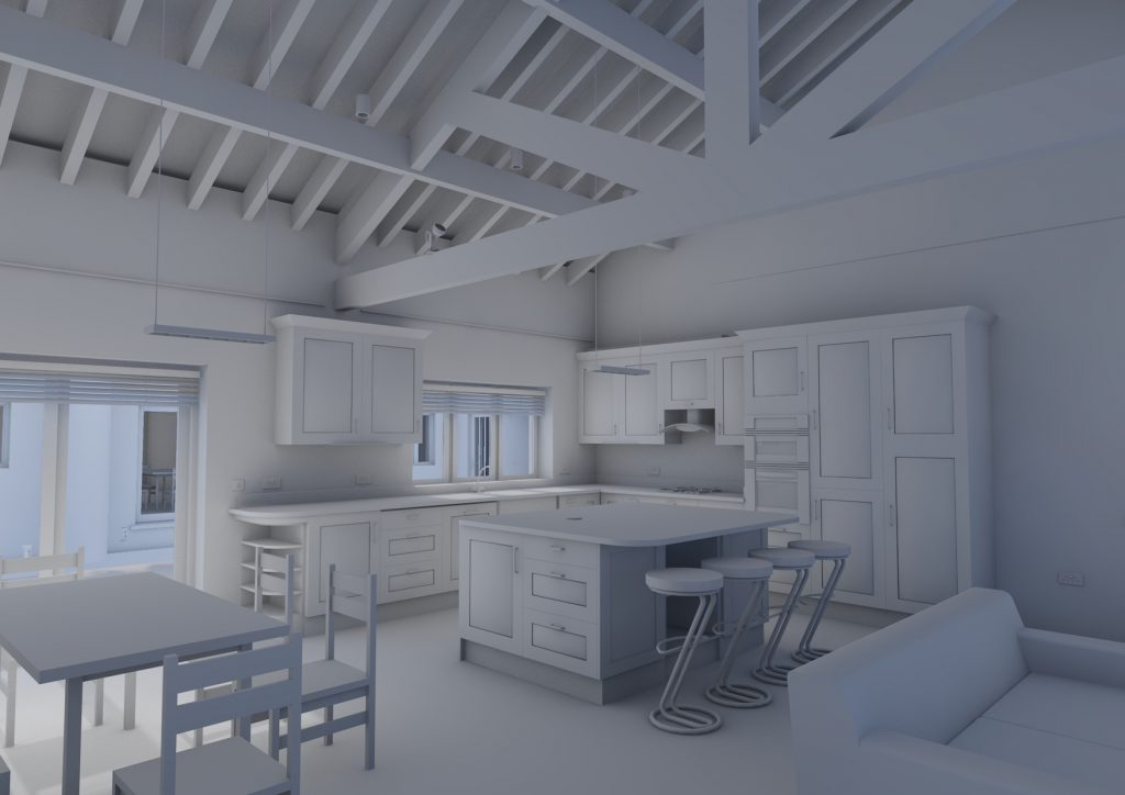 A view taken from a BIM model showing a kitchen interior